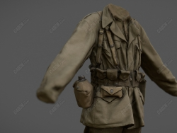 C4D美国二战军官士兵战服模型 C4D American WWII officers and soldiers uniform model