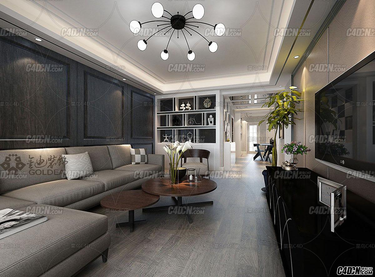 黑白灰现代风格客厅装饰效果图工程