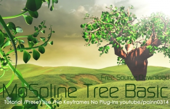 C4D预设 MoSpline植物树木动画预设含中文教程 Cinema 4D step effecter+MoSpline Tree Tutorial  Preset Use  No Keyframe