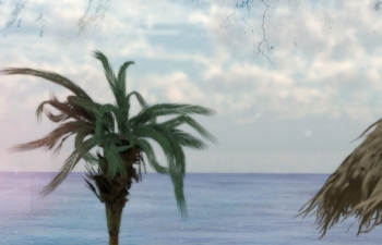 沙滩海滩棕榈树沙滩椅C4D模型 Beach beach palm tree beach chair C4D model